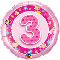 "AGE 3 PINK FAIRIES 18"" PKT"