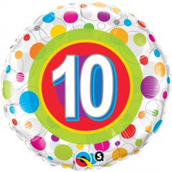 "AGE 10 COLOURFUL DOTS 18"" PKT"
