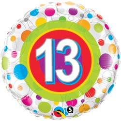 "AGE 13 COLOURFUL DOTS 18"" PKT"
