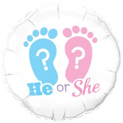 "HE OR SHE? FOOTPRINTS 18"" PKT"