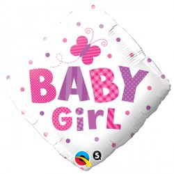 "BABY GIRL DOTS & DRAGONFLY 18"" PKT"