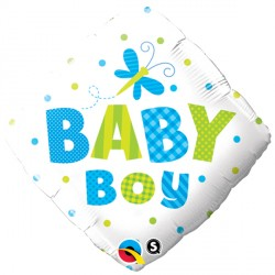 "BABY BOY DOTS & DRAGONFLY 18"" PKT"