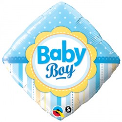 "BABY BOY DOTS & STRIPES 18"" PKT"