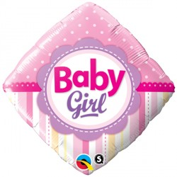 "BABY GIRL DOTS & STRIPES 18"" PKT"