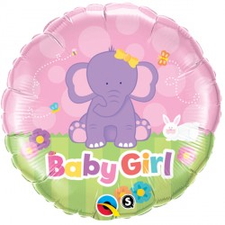 "BABY GIRL ELEPHANT 18"" PKT"