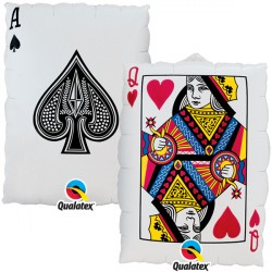 "QUEEN OF HEARTS/ACE OF SPADES 30"" SHAPE GROUP B PKT"