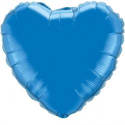 """SAPPHIRE BLUE HEART 18"""" FLAT Q"""