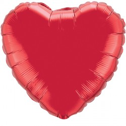 "RUBY RED HEART 18"" FLAT Q"