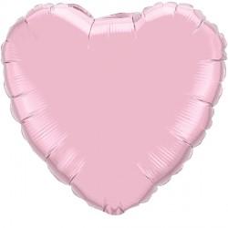 """PEARL PINK HEART 18"""" FLAT Q"""