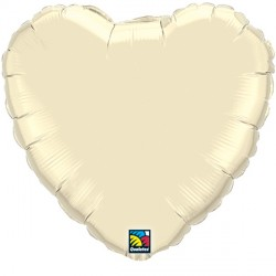 "PEARL IVORY HEART 18"" FLAT Q"