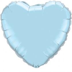 """PEARL LIGHT BLUE HEART 18"""" FLAT Q"""