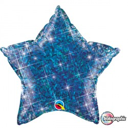 "SAPPHIRE BLUE HOLOGRAPHIC STAR 20"" FLAT Q"