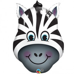 "ZANY ZEBRA 14"" MINI SHAPE INFLATED WITH CUP & STICK"