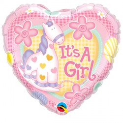 "IT'S A GIRL SOFT PONY 9"" INFLATED WITH CUP & STICK"