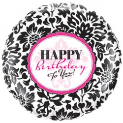 "BIRTHDAY ELEGANT DAMASK 9"" FLAT"