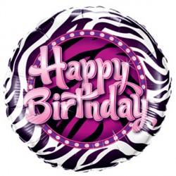 """BIRTHDAY ZEBRA PRINT 9"""" FLAT"""