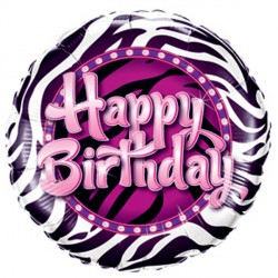 "BIRTHDAY ZEBRA PRINT 9"" INFLATED WITH CUP & STICK"
