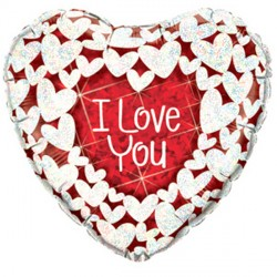 "I LOVE YOU GLITTER HEARTS 9"" FLAT"