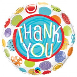 "THANK YOU PATTERNED DOTS 9"" INFLATED WITH CUP & STICK"