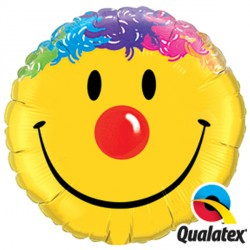 "SMILE FACE 9"" INFLATED WITH CUP & STICK"