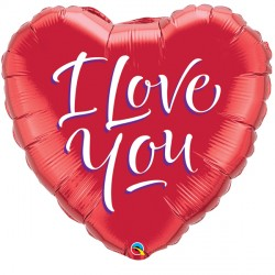 "I LOVE YOU SCRIPT MODERN 9"" INFLATED WITH CUP & STICK"