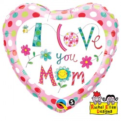"RACHEL ELLEN I LOVE YOU M( )M FLOWERS 9"" INFLATED WITH CUP & STICK"