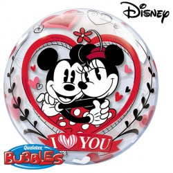 "MICKEY & MINNIE I LOVE YOU 22"" SINGLE BUBBLE"