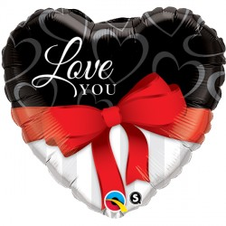 "LOVE YOU RED RIBBONS 18"" PKT"