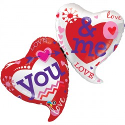 "YOU & ME TWO HEARTS 42"" SHAPE GROUP B PKT"