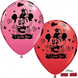 "MICKEY & MINNIE I LOVE YOU 11"" RED & ROSE (25CT) LBC"