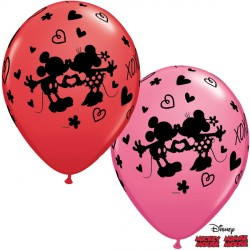 "MICKEY & MINNIE XOXO 11"" RED & ROSE (25CT) LBC"