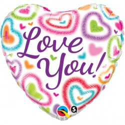 "LOVE YOU! FUZZY HEARTS 18"" PKT"