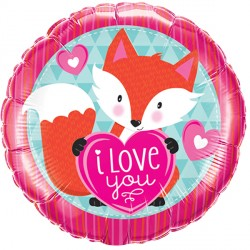 "LOVE YOU FOXY HEART 18"" PKT"