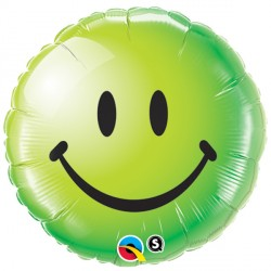 "SMILEY FACE GREEN 18"" PKT"