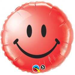 "SMILEY FACE RED 18"" PKT"