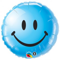 "SMILEY FACE BLUE 18"" PKT"