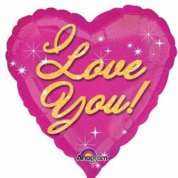 I LOVE YOU PINK SPARKLES STANDARD S40 PKT