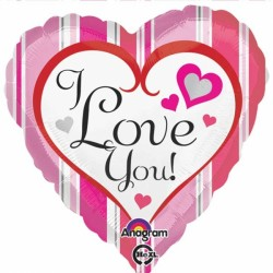 PINK STRIPES I LOVE YOU STANDARD S40 PKT