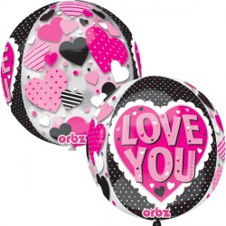 PINK & BLACK LOVE YOU ORBZ G20 PKT