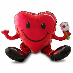 SITTING SMILEY HEART GUY MULTI BALLOON A70 PKT