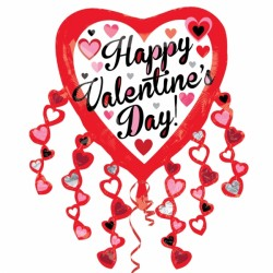 HAPPY VALENTINE'S DAY HEART STREAMERS SHAPE P35 PKT