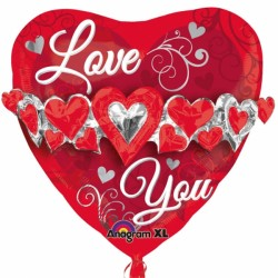 LOVE YOU HEART MULTI BALLOON SHAPE P45 PKT