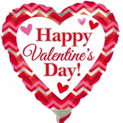 "HAPPY VALENTINE'S DAY CHEVRON 9"" A15 INFLATED WITH CUP & STICK"