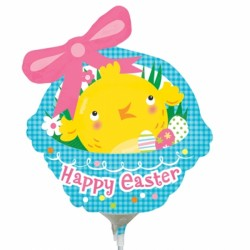 EASTER CHICK BASKET MINI SHAPE A30 INFLATED WITH CUP & STICK