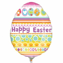 HAPPY EASTER EGG MINI SHAPE A30 INFLATED WITH CUP & STICK