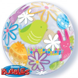 "SPRING BUNNIES & FLOWERS 22"" SINGLE BUBBLE"