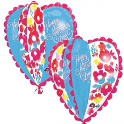 WATERCOLOUR HEART HAPPY MOTHER'S DAY ULTRA SHAPE P40 PKT