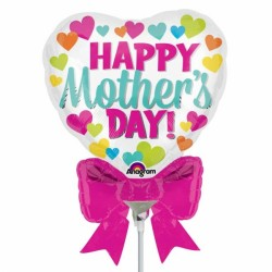 HAPPY MOTHER'S DAY HEART & BOW MINI SHAPE A30 INFLATED WITH CUP & STICK