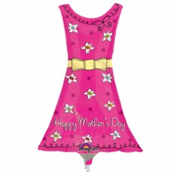 HAPPY MOTHER'S DAY DRESS MINI SHAPE A30 INFLATED WITH CUP & STICK