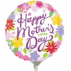 "CHEERFUL MOTHER'S DAY 9"" A15 INFLATED WITH CUP & STICK"